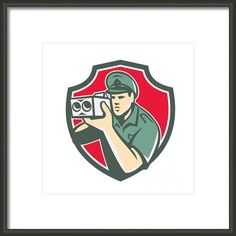 Policeman Speed Camera Shield Retro Framed Print By Aloysius Patrimonio