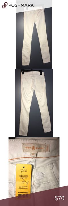 Tory Burch $70 NWT Size 23 Super Skinny Jeans A low-rise, body-conscious, very slim cut. Button front, zip fly. Five pocket. Gold hardware. Tonal double T logo, corded embroidery on back pockets. 98% cotton 2% spandex. Machine wash cold, separately. Tumble dry low. Tory Burch Jeans Skinny