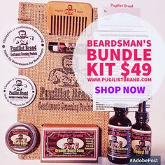 Beardsman's Bundle only $49 for 6 products. Made by Beardsmen for Beardsmen. Get yours now at www.pugilistbrand.com & www.beardedboxer.com