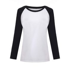 Women T-shirt Sweatshirt Raglan Long Sleeve Patchwork Loose Moleton Tee Tops Plus Size M-XXL