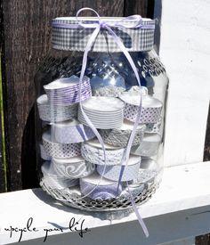 teelichter im glas... ...aufgehübscht mit washitape, schleifenband & papierstreifen...