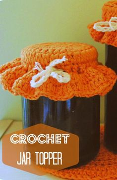 Add a special finishing touch to your homemade preserves with this simple crochet jar topper.