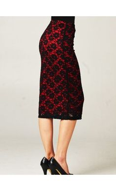 Lace overlay midi length pencil skirt perfect for valentines day! - Apostolic Clothing #modest #clothing