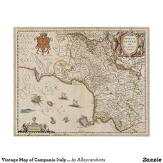 Vintage Map of Campania Italy (1662) Poster