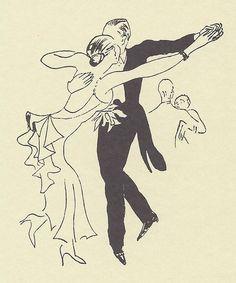 """fantomas-en-cavale:    Dessin par Cecil Beaton, 1932  Original caption: """"The American débutante leads an exhausting life…"""""""