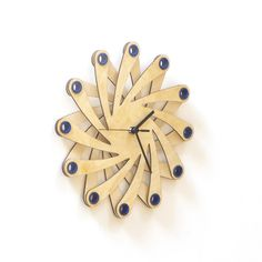 Neuron contemporary organic wall clock made of bent plywood 23/½ 59cm