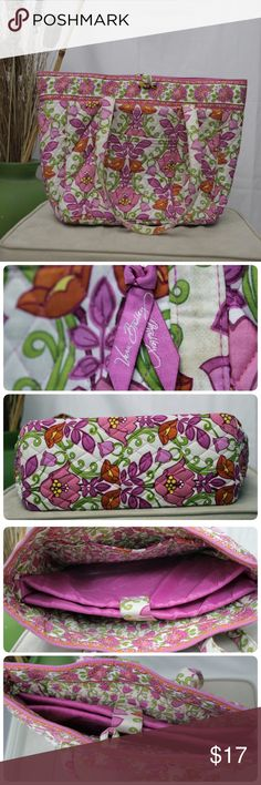 "Vera Bradley Lillie Bell Patern Shoulder Tote Still has a lot of love in it. Been in the closet, need to be aired. There is inside divider, make it easier to arrange your knick knacks. Size 18X13. Strap drop approx 13"" Vera Bradley Bags Shoulder Bags"