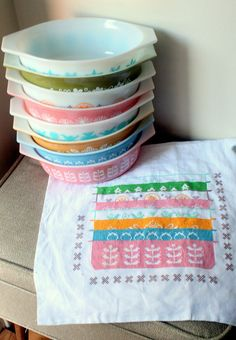 Still Stitching by lolie jane, via Flickr - Okay, where should I put this - stitching or Pyrex?!