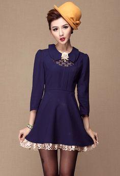 for women: Blue Lapel Long Sleeve Lace Applique Dress