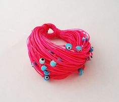 Greek Evil Eye Swim and Surf Bracelet Waxed Cords by Ammos on Etsy, $28.00