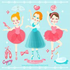 Ballet digital clip art featuring three cute ballerina, swan, princess crown and more. #clipart #vector #design See more at CreamyInk.etsy.com