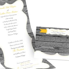 wood grain seal and send wedding invitation | rustic wedding invites at Ann's Bridal Bargains