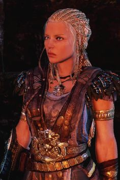 "Lithariel from ""Shadows of Mordor."" Try doing your hair like this. Lots if braids"