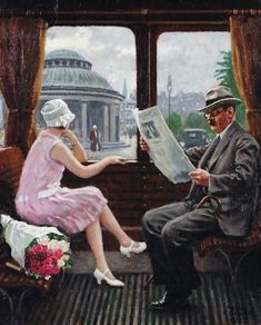 In the train compartment oil painting by Paul-Gustave Fischer, The highest quality oil painting reproductions and great customer service! Vintage Diy, Vintage Travel, Train Art, Harlem Renaissance, Anime Comics, Beautiful Paintings, Painting & Drawing, Art Photography, Art Gallery
