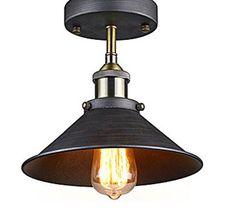Antique Industrial Edison Semi Flush Ceiling Lamp Vintage Mini P