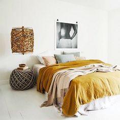 My favorite thing about Sundays is sleeping in.   #sleepytime #lazysunday #sunday #sundaymorning #bed #bedroom #bedroomdesign #bedlinen #boho #bohochic #bohostyle #bohohome #bohodecor #bohodesign #modernboho #organicmodern #organicmodernism #yellowblanket #blanket #bedsidetable #lamp #bedroomart #art #moroccan #moroccandesign #yellowbedroom by woodsandweaves