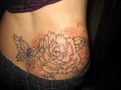 liaa walters's gorgeous work on my peony butterfly tattoo by the weather man lies, via Flickr