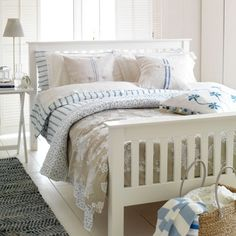 White and blue coastal style bedroom | New England design room ideas | Design | Coastal | PHOTO GALLERY | Housetohome.co.uk