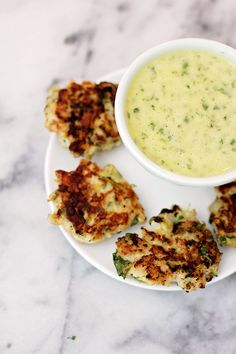 Zucchini Chicken Bites - instead of frying in oil, press into muffin tins and bake at 400 degrees for 20-25 minutes.