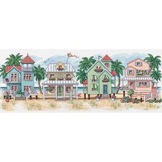 Charming cottage portrait features a delightful panoramic seaside scene Feel the warmth and balmy breezes with the half cross stitch for artistic effect Needlework kit includes everything you need for