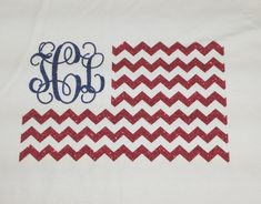 Perfect for the 4th of July. Glitter vinyl US flag design with your monogram!