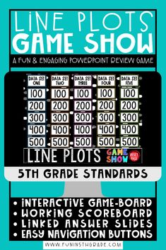 Line plots with fractions review game can be fun for students to learn and review with this highly engaging line plot game show PowerPoint!  This math review game has an interactive game board, working scoreboard and linked answer slides!  This a great game for whole class engagement and review in a jeopardy style game!