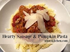 Hearty Sausage & Pumpkin Pasta - We're back with what might seem like an odd combination - sausage & pumpkin, but one that has quickly become one of my favorite, easy pasta sauces. Italian Sausage Seasoning, Italian Chicken Sausage, Pumpkin Pasta, Pumpkin Puree, Easy Pasta Sauce, Pasta Sauces, Fire Roasted Tomatoes, Easy Weeknight Meals, Kitchen Recipes