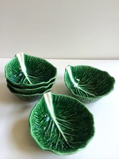 SOLD | Vintage Secla Portugal Green Cabbage Leaf Coupe All Purpose Bowls | deep green raised design with white | set of 5 | Made in Portugal from ShopTheHyphenate