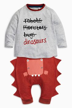 Buy Grey/Red Slogan Dino Tops Two Pack (0mths-2yrs) from the Next UK online shop