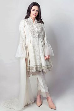 Maria B Suit Off White Evening Wear 2017 Price in Pakistan famous brand online shopping, luxury embroidered suit now in buy online & shipping wide nation. Pakistani Fashion Casual, Pakistani Outfits, Indian Outfits, Girls Fashion Clothes, Girl Fashion, Fashion Dresses, Clothes For Women, Style Fashion, Fashion Ideas