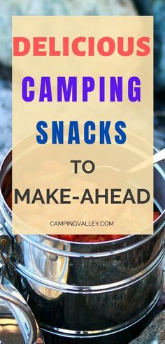 Are you going camping and want to enjoy in outdoor activities more than cooking? Here you have camping snacks to make-ahead. #campingsnacks #food #outdoor #cooking #camping Healthy Camping Snacks, Camping Meals For Kids, Camping Activities, Camping Recipes, Outdoor Activities, Family Camping, Snacks To Make, Make Ahead Meals, Easy Snacks