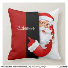Personalized Red & White Santa Throw Pillow Cheap Christmas Gifts, Christmas Diy, White Christmas, Custom Pillows, Decorative Pillows, Pillow Inspiration, Pillow Room, Cotton Pillow, Christmas Card Holders