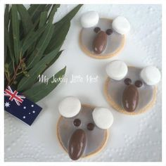 Koala biscuits would make a great treat for Australia Day, and I have created an easy no bake recipe, so they can be made with very little fuss. Kids Cooking Recipes, Easy Baking Recipes, Kids Meals, Cooking Bacon, Cooking Games, Cooking Oil, Baking Ideas, Cake Recipes, Australian Party