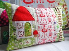 Lovely Scented Pillow in Scandinavian Folk Art fabric with Applique House and Bird. £32.00, via Etsy.