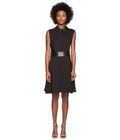 The Kooples Robe Bureau Sans Manches Details Cuir Taille Col Dress
