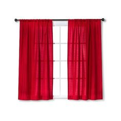 Room Essentials Chesapeake Curtain Panel Pair ($20) ❤ liked on Polyvore featuring home, home decor, window treatments, curtains, red, red window valance, window coverings, target curtains and red window panels