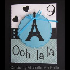 Handmade birthday party invitation Paris Birthday Silhouette Eiffel Tower image Cards by Michelle Ma Belle