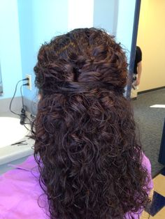 Easy half twist, nice for naturally curly hair!