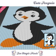 Cute Penguin is a crochet baby blanket pattern featuring a little penguin.  This graph design is 80 squares wide by 100 squares high. It requires 3 colors and one background color.  Pattern PDF includes: - color illustration for reference - color square pattern  Image only, no written counts.  This listing is for a digital pattern only. The PDF file of the pattern will be available for instant download once payment is confirmed. If you have any questions about the pattern or the download…