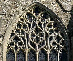"Window tracery, the Church of St Mary, Snettisham, Norfolk, England ""Religious structures received some of the most impressive detailing in stone work. Organic yet simple clean shapes"""