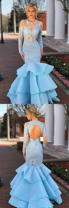 Elegant Long Sleeves Mermaid Blue Lace Layered Prom Dress with Open Back OKA36 #mermaid #lace #longsleeves #openback #elegant #blue #prom #okdresses