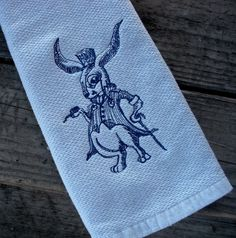 Alice's Rabbit Embroidered Kitchen Towel Alice by antsAccessories, $10.00