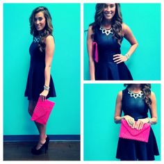 Leather Panel Skater Dress, $72.00