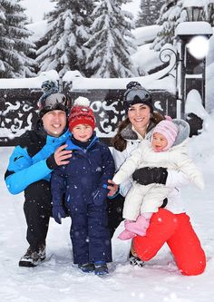 Prince William, Duke of Cambridge and Catherine, Duchess of Cambridge release photographs of them enjoying snow in the French Alps with Prince George and Princess Charlotte to mark their first family holiday, March 3, 2016.