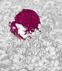 As belas ilustrações com singelas mulheres em intrincados cenários de Pedro Tapa