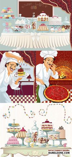 Сладости, повар с пирожным, повар с пиццей - Векторный клипарт   Sweets and chef vector
