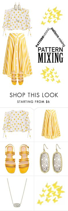 """Mix it up"" by luminara17 ❤ liked on Polyvore featuring Caroline Constas, Thierry Colson, Kendra Scott, PolkaDots, girly, colorful, patternmixing and summer2017"