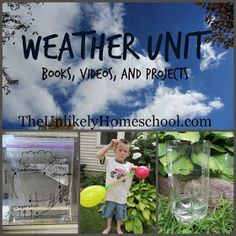 """Weather Unit: Books, Videos, and Projects {The Unlikely Homeschool} Simple """"barometer"""" that simply shows changes in pressure, not exact measurement. Teaching Weather, Preschool Weather, Weather Science, Weather Activities, Seasons Activities, Summer Activities, Learning Activities, Kids Learning, First Grade Science"""
