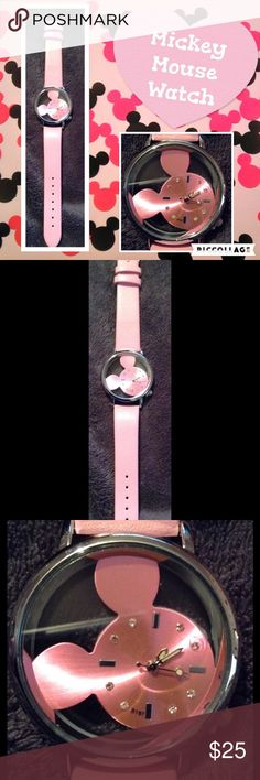 "Pink & Silver Mickey Mouse Disney Watch-NWT! Pink & Silver Mickey Mouse Disney Watch-NWT! 9"" long. Accessories Watches"
