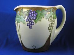 "PH Leonard Austria Arts & Crafts Grape Motif Pitcher (Signed ""S.P.C.""/c.1890-1908)"